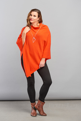 Belle Love Italy Ribbed Asymmetric Poncho