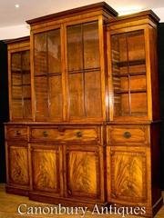 Antique Breakfront Bookcase Secretaire Desk - Mahogany Victorian Bookc